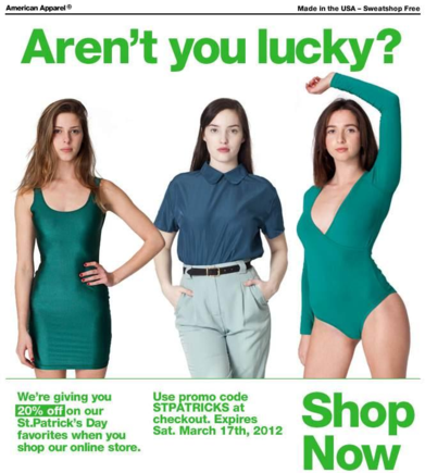 Trying to force your products to fit a theme often falls flat, such as this email from American Apparel.