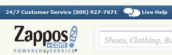Zappos' clearly-displayed contact information makes it easy for customers to contact them.