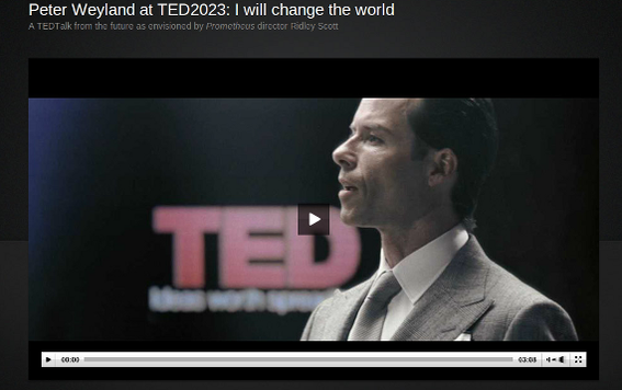Actor Guy Pearce gives a TED TALK as Peter Weyland from the film Prometheus.