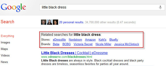 "Google's related stores and brands search results for ""little black dress"""