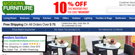 This PPC ad's copy is echoed on the landing page.
