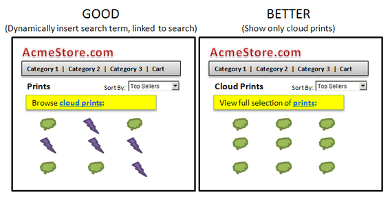 "Match the content of the landing page to the shopper's search query. The example on the right shows results only for ""cloud print,"" the shopper's search term."