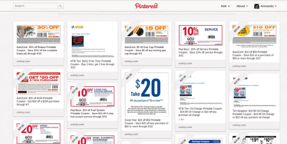 Some Pinterest spammers use the site to post endless boards full of coupons, these bland images undermine Pinterest.