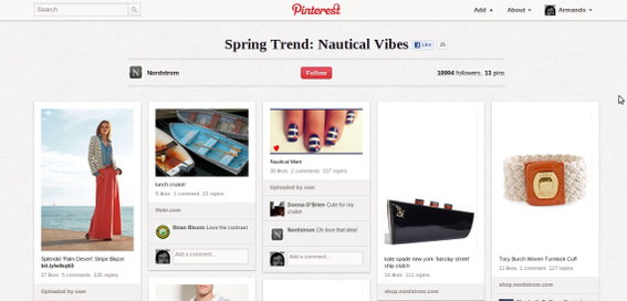 Nordstrom's Pinterest boards are a great example of including product likes and images on Pinterest.