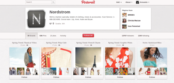 Pinterest boards organize a user's content.