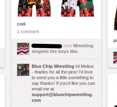 Blue Chip Wrestling rewards users that pin their images.