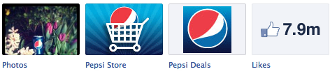 Pepsi custom app icons link to an online store and special offers.