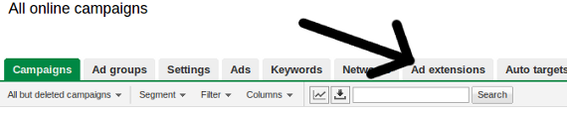 Google AdWord ad extensions are applied at the campaign level.