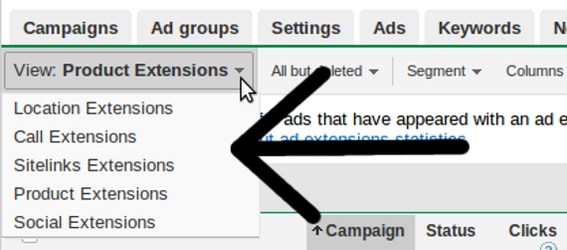 There were five ad extensions available at the time of writing.
