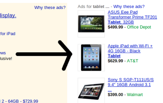 The product extension adds product images and prices to ads.