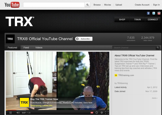 TRX Training's YouTube channel includes nearly 400 videos.