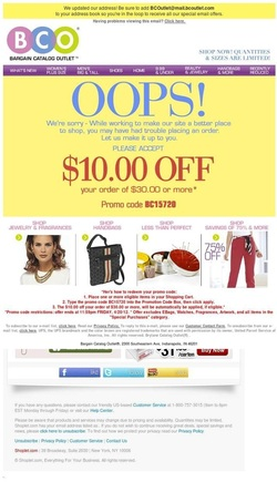 "Bargain Catalog Outlet sent an ""oops"" email when it realized customers may have had trouble placing an order."