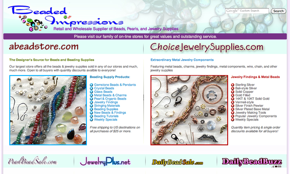 The Beaded Impressions home page.