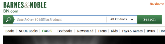 Barnes & Noble also has a large search box in its site design.