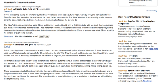 Amazon provides many helpful reviews for each product, reducing the need for shoppers to search elsewhere for them.
