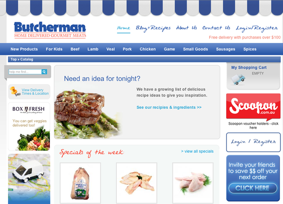 Butcherman home page.