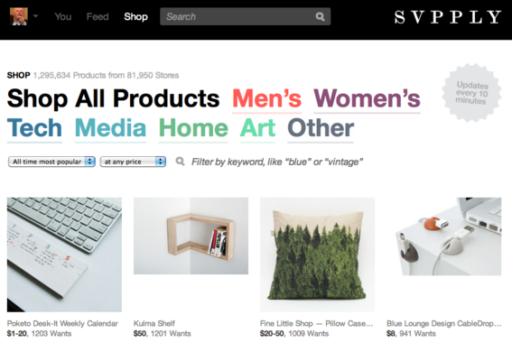 Svpply is a consumer-driven shopping community.