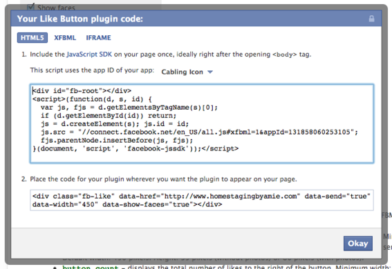 Get the Like Button code page contains a customizable form.