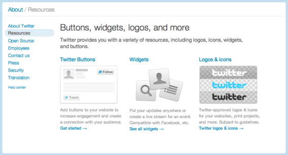 Twitter offers two social sharing options - buttons and widgets.