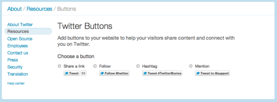 There are four Twitter button options to choose from.