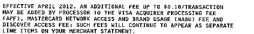 Actual fee announcement, reproduced below.