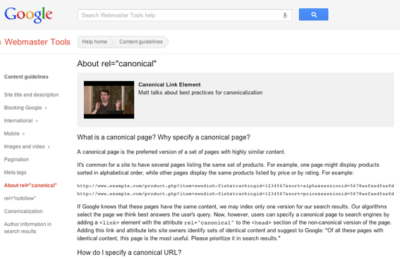 Google Webmaster Tools explains the use of cross-domain canonical tags.