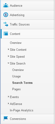 "The Google Analytics ""Search Terms"" page will allow you to see what consumers are searching for."