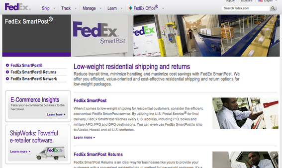 "FedEx SmartPost utilizes the USPS for ""final mile"" delivery, to every U.S. address."