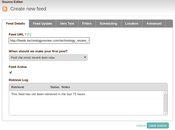Any standard RSS feed can be published via Dlvr.it.