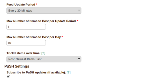 The Feed Update tab allows a marketer to schedule how often a feed is checked.
