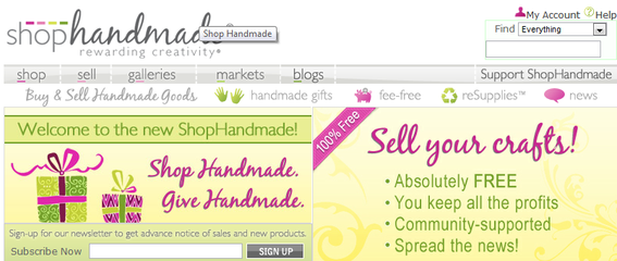ShopHandmade.com is a niche marketplace for hand-made items.