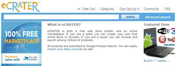 eCrater is a web store builder and an online marketplace.