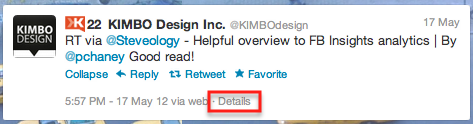 "Click ""Details"" to open a page with the specific tweet."