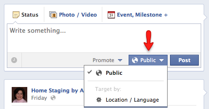 Use the Public button to select targeting options.