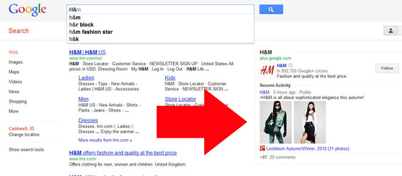 Google integrates Google+ content into search results pages.