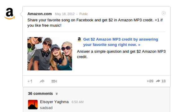 Amazon is actively publishing content, including offering discounts for interaction, on its Google+ page.