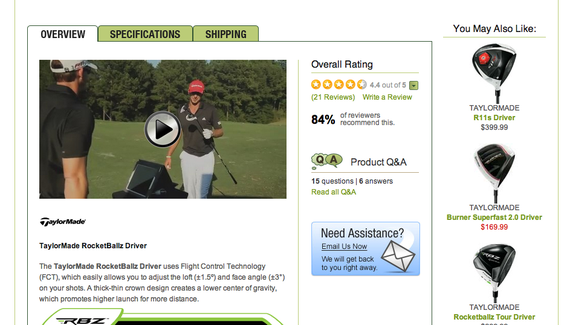 Golfsmith includes video on certain products, which — it says — increases conversions. This example is for a golf club on that site.