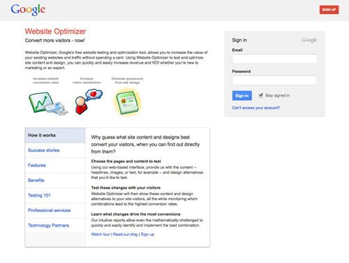 Google Website Optimizer.