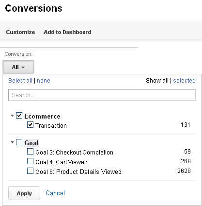 You can filter your data to show only conversions.