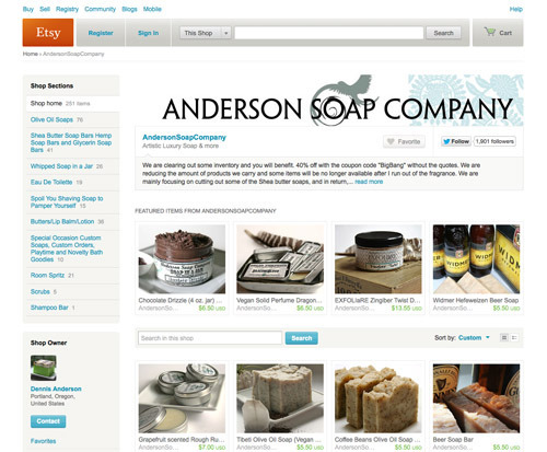 AndersonSoapCompany Shop.