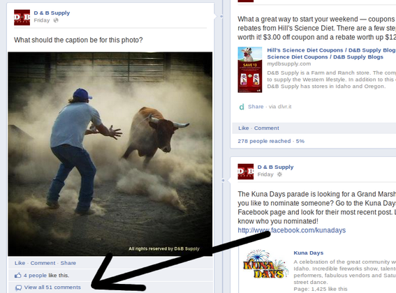 Asking Fans to caption a photo, one retail garnered 51 comments, potentially boosting Fan Reach.