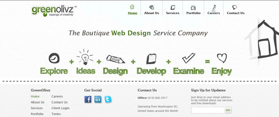 The GreenOlivz site icons look hand-drawn.