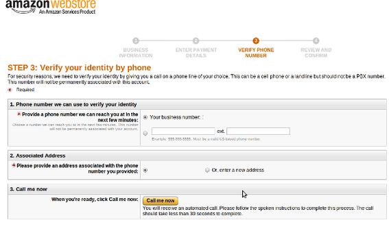 Amazon's Webstore also requires telephone verification.