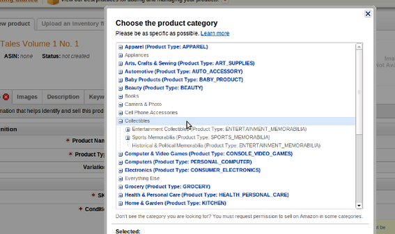 Amazon has a significant category system.