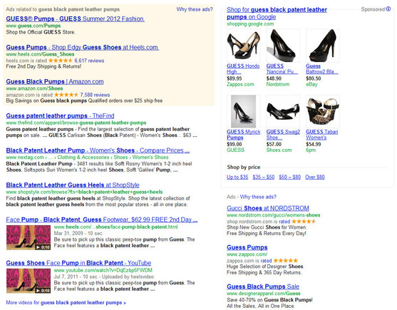Search result showing Heels.com's rich snippet and Google Shopping ads.