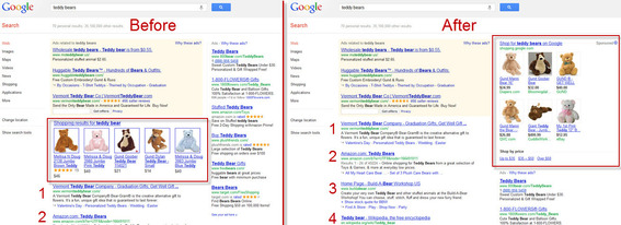Comparison of Google shopping results placement.