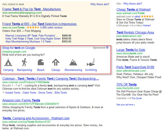 "Google product type ad for ""tent""."