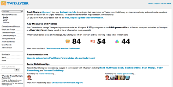Twitalyzer is a social influence measurement tool.