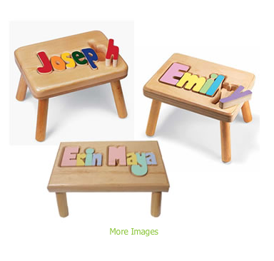 Name-puzzle stools, from StorkGifts.