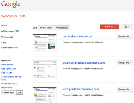Adding Sites to Google Webmaster Tools.